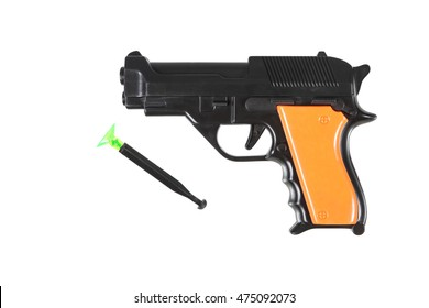plastic toy gun isolated isolated on white,with clipping path