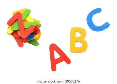 """Plastic Toy Letters """"ABC"""" Isolated on White,Colorful British Alphabet"""