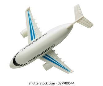 plastic toy plane isolated on white background