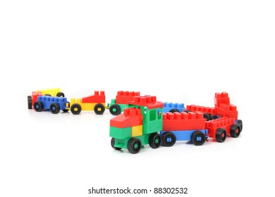 plastic toy train isolated on the white background