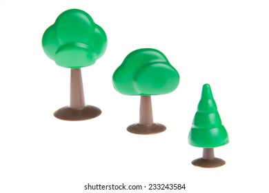 Plastic toy tree isolated on white