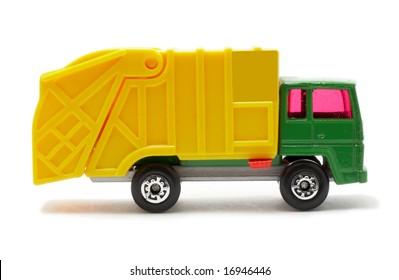 plastic toy van, isolated on white background