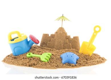 Plastic toys at the beach for building a sand castle