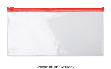 Plastic transparent zipper document  bag isolated on white