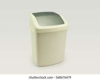 Plastic trash can with push-in cover isolated in white background