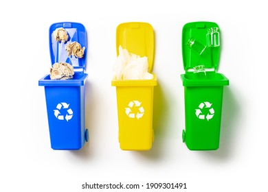 Plastic trash. Yellow, green, blue dustbin for recycle plastic, paper and glass can trash isolated on white background. Bin container for disposal garbage waste and save environment