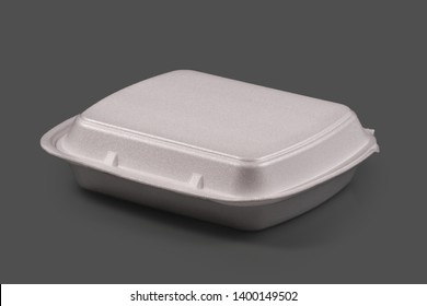 Plastic tray for food on gray background