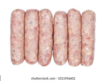 Plastic tray of raw pork beef sausages on white background