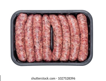 Plastic tray of raw pork beef sausages isolated on white