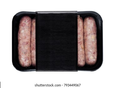 Plastic tray of raw pork beef sausages with black label isolated on white