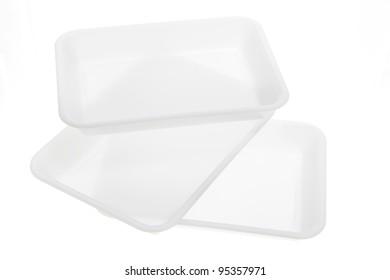 Plastic Trays on White Background
