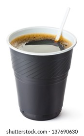 Plastic vending coffee cup. Isolated on a white.