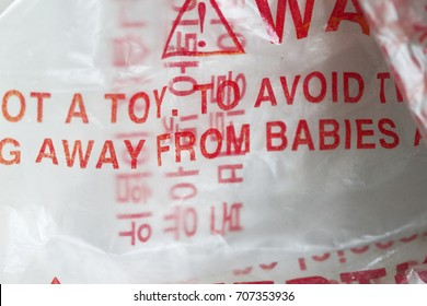 Plastic vinyl wrapper danger to babies for intoxication asphyxia.
