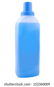 Plastic washing bottles with blue liquid, detergent cleaners on a white background, nobody.