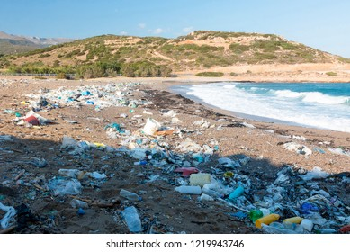 Plastic waste on a beach in Greece.