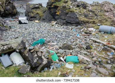 Plastic waste pushed ashore in Scotland's famous Elgol Beach after a storm. Isle of Skye, Scotland