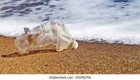 plastic waste washed on beach  - illustration based on own photo image
