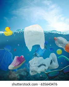 Plastic waste in the water