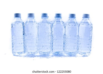 Plastic water bottle with drops