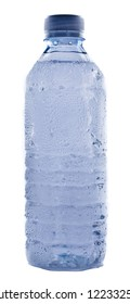 Plastic water bottle shows condensation