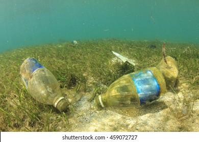 Plastic water bottles pollute the ocean