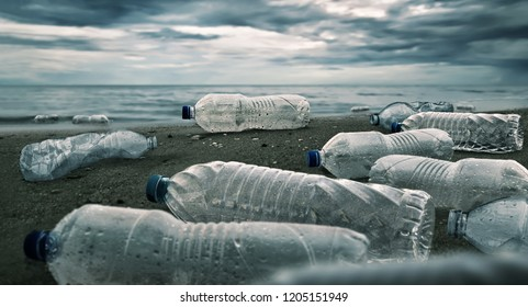 Plastic water bottles pollution in ocean (Environment concept) - Shutterstock ID 1205151949
