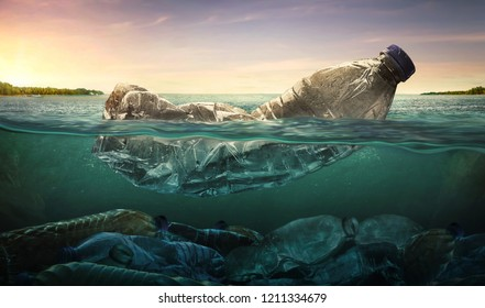 Plastic water bottles pollution in ocean (Environment concept) - Shutterstock ID 1211334679