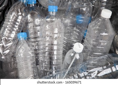 Plastic water bottles in the trash heap
