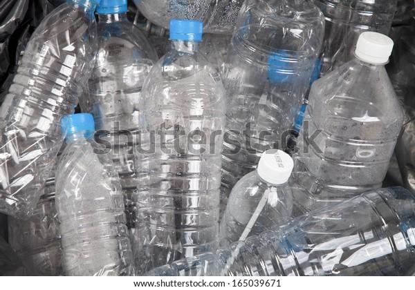 Plastic water bottles in the trash heap