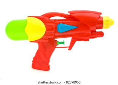 Plastic water gun isolated over white