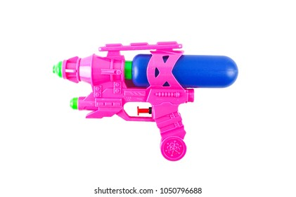 Plastic water gun toy isolated on white background
