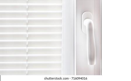 Plastic window blinds, handle isolated white background