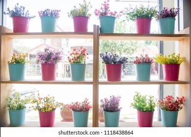 plastic window with flowers on window