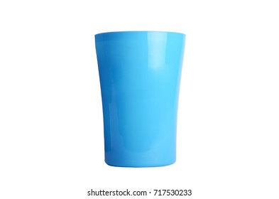 Plastic yellow cups isolated on white background