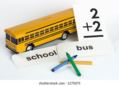 Plastic Yellow Toy School Bus Bank with Flash Cards & Crayons