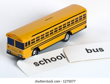 Plastic Yellow Toy School Bus Bank with Flash Cards