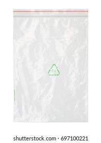 Plastic zipper bag with recycle symbol (with clipping path) isolated on white background
