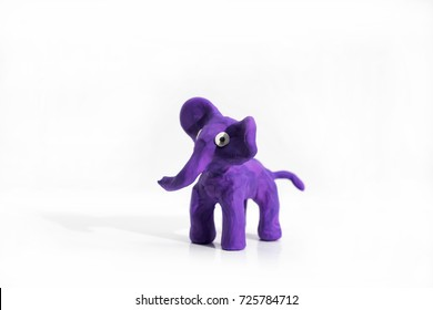 Plasticine artwork. Elephant made from plasticine.