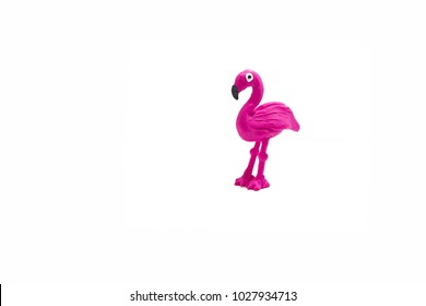 Plasticine artwork. Flamingo made from plasticine.