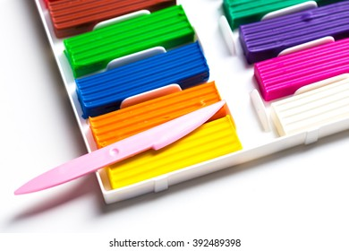 Plasticine bars on white background