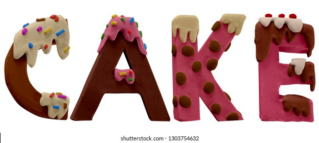 Plasticine cake font letters. Inscription from sweets, tasty word CAKE. Lettering word Precious. Colorful Play dough (Plasticine or Clay). Created by hands. Isolated on white background.- Image.