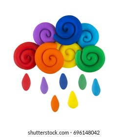 Plasticine cloud with rain, the colors of the rainbow isolated on white