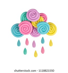 Plasticine cloud with rain, pastel colors  isolated on white