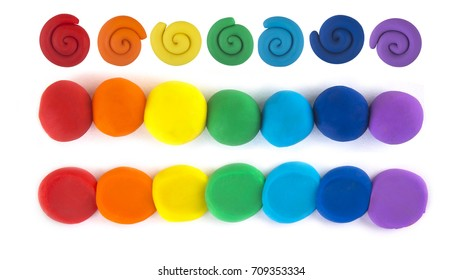 Plasticine, the colors of the rainbow