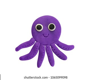 Plasticine cute purple octopus isolated on a white background. Clipping path.