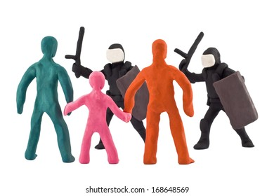 plasticine dispersal of peaceful demonstrations by police isolated on white background