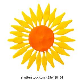 Plasticine flower isolated on white background