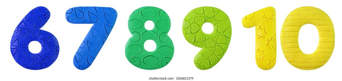 Plasticine handmade colorful number set with pattern. Fun cartoon rainbow color number set.