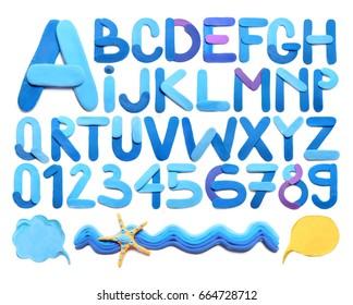Plasticine letter. Color plasticine alphabet, isolated.