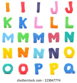 """plasticine letters standing on white background (2 of 3 - from """"i"""" to """"q"""")"""